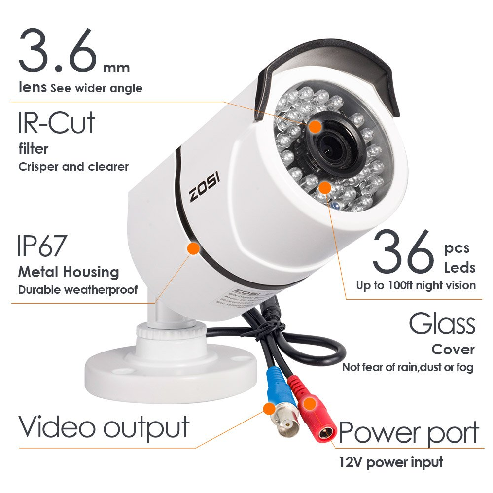 ZOSI Full HD 1080p Security Camera System, 8x 1080p HD Weatherproof Outdoor Surveillance Camera, 8CH 1080P CCTV DVR Recorder and 2TB Hard Drive, 100ft Night Vision, Customizable Motion Detection by ZOSI (Image #4)