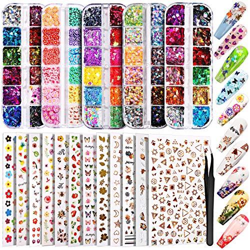 stickers (12u)+ lentejuelas (5cajas)+pinza  decoración uñas