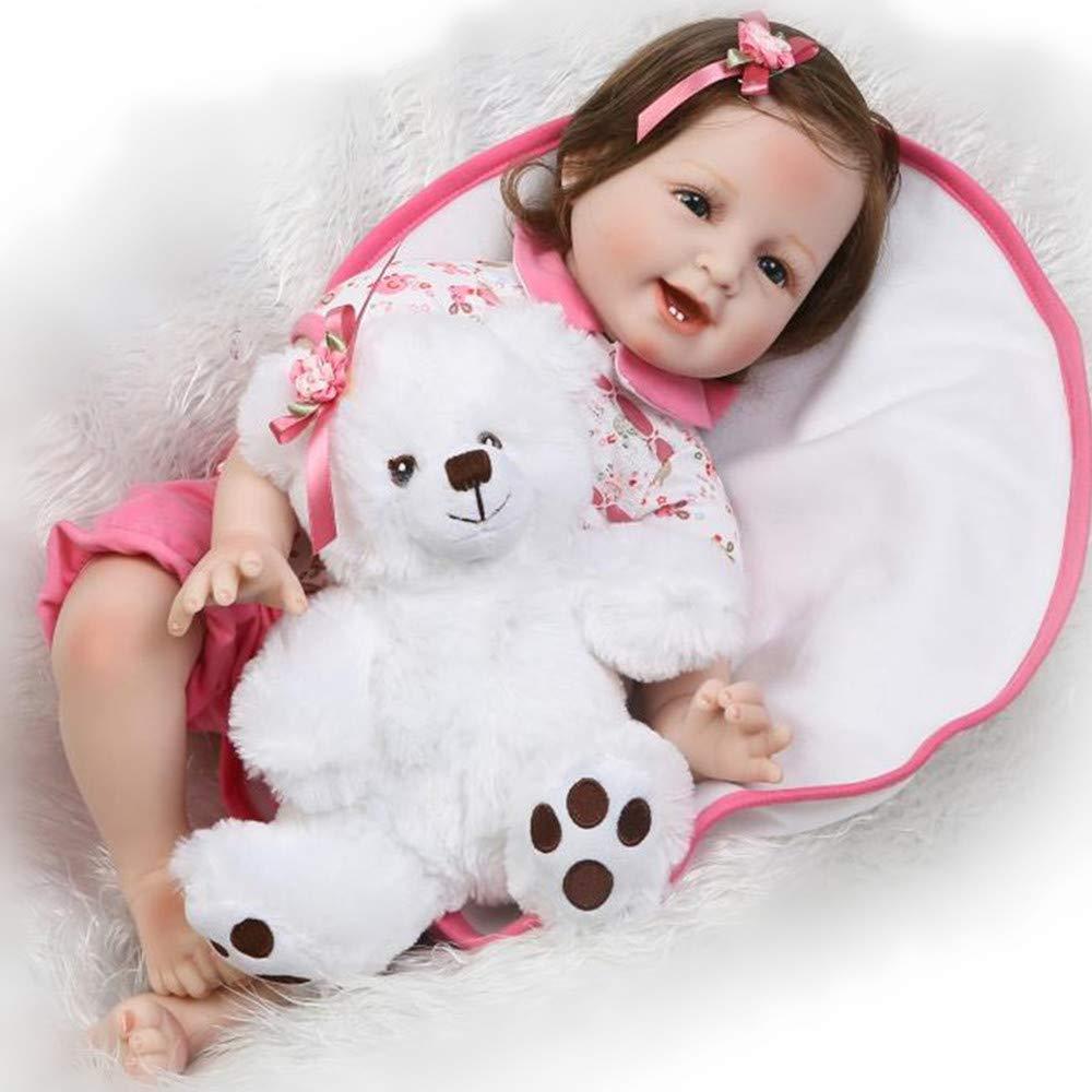 CutDoll Reborn Babypuppen Babys Puppen Silikon Mädchen Lebensecht Doll Toddler Babies Magnetischer Mund 55 cm