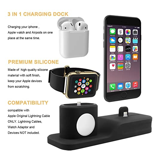 Tempo Apple Watch Stand, 3 in 1 Premium Silicone Charger Dock Station for Apple iWatch Series 1/2/3, AirPods, Compatible with iPhone X/8/8 Plus/7/7 ...