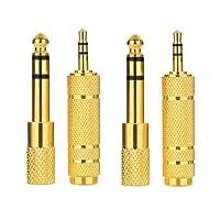 Yakamoz 2 set Adaptateur Jack Audio Plaqué or 6,35mm Mâle à 3,5mm Fmelle Stéréo Jack Adaptateur Jack 3,5mm mâle Stéréo à 6,35mm