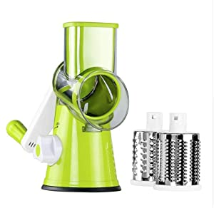 LEKOCH Vegetable Mandoline Slicer , Rotary Drum Cheese Grater with 3 Ultra Sharp Cylinders Stainless Steel Blades , Manual Hand Speedy SafeVegetable Shredder & Cutter