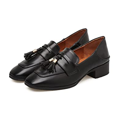 T-JULY Womens Tassel Oxford Retro Fashion Soft Moccasins Synthetic Flats with Metal Loafers Shoes