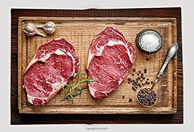 Supersoft Fleece Throw Blanket Fresh Raw Beef Steak On Wooden Cutting Board Top View 345032336