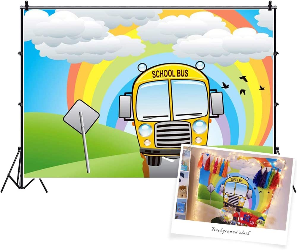 CSFOTO Polyester 6x4ft Back to School Backdrop Cartoon School Bus Rainbow Online Teaching Background for Photography Online Course Decor Banner Spring Homecoming Student Children Photo Studio Props