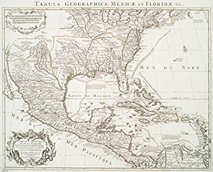 Amazon.com: Historic 1722 Map | Carte du Mexique et de la Floride ...