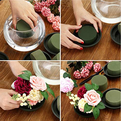 DIY Flower Arrangement Kit Green Round Wet Floral Foam Party Decoration Wedding Aisle Flowers Flower Foam, 12 Pieces
