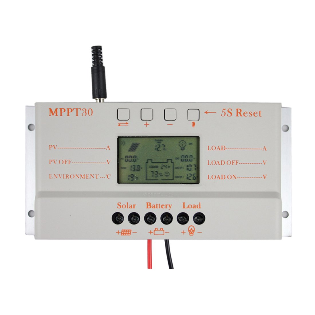Y&H 30A MPPT Solar Charge Controller 12V/24V Solar Panel Battery Voltage Intelligent Regulator with USB Port LCD Display,PWM Charger