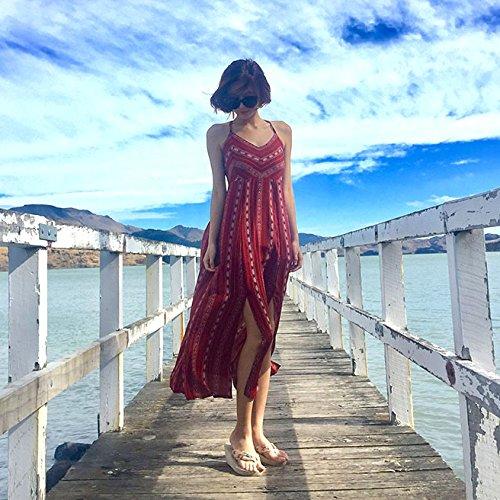 Red Vestidos Y Faldas Playa Largas wine Verano Playas Playas Costa XIU RONG Faldas OwvqSZwP6