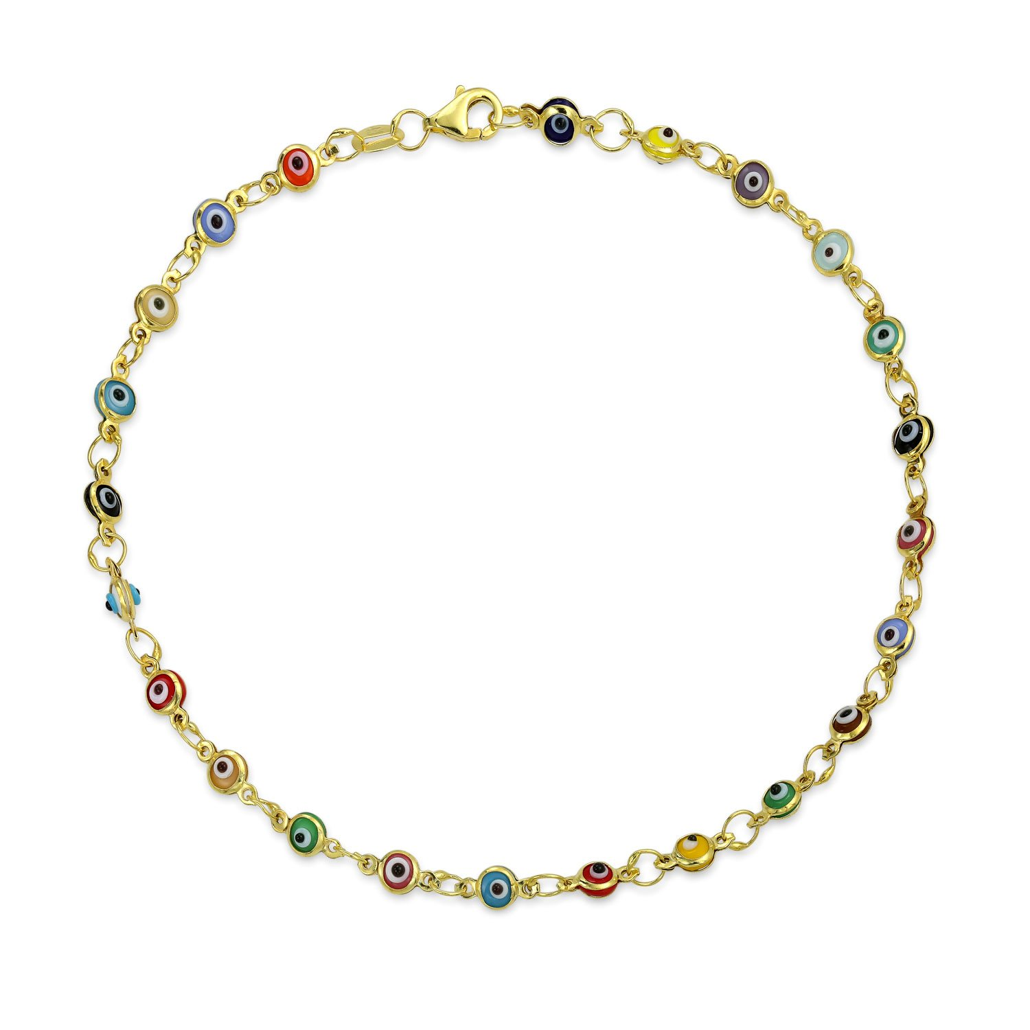 Bling Jewelry Multi Color Gold Plated 925 Silver Evil Eye Anklet 10 Inch IY-6121-A-G