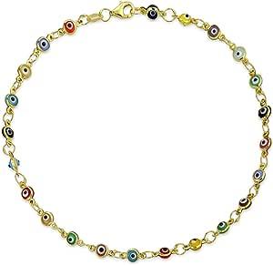 Amulet Turkish Multi Color Delicate Evil Eyes Anklet Link Ankle Bracelet For Women For Teen Rose Gold Plated .925 Sterling Silver 10 Inch