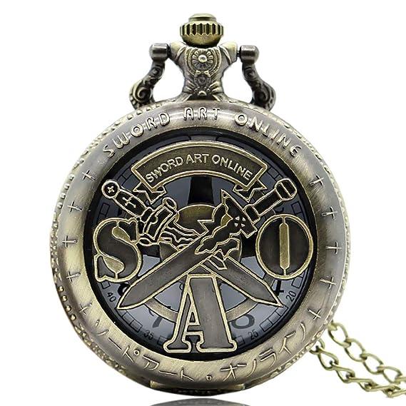 Sword Art Online - Reloj de Bolsillo de Cuarzo Vintage de Bronce, Hombres: Amazon.es: Relojes