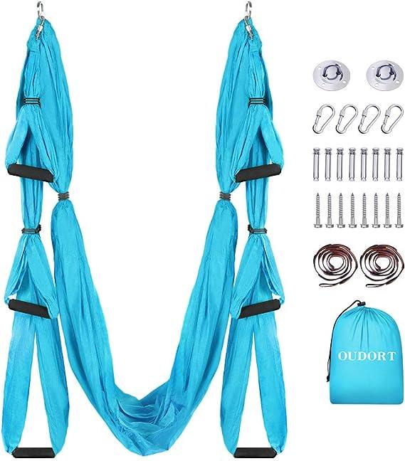 Yoga Schaukel Set mit 2 Verl/ängerungsgurten f/ür Fitness zu Hause Blau//Lila Verbessern Flexibilit/ät und Kernfestigkeit Montagezubeh/ör inklusive Oudort Aerial Yoga H/ängematte Set