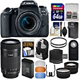 Canon EOS 77D Wi-Fi Digital SLR Camera & EF-S 18-55mm + 55-250mm IS STM Lens + 64GB Card + Backpack + Battery & Charger + Tele/Wide Lens Kit