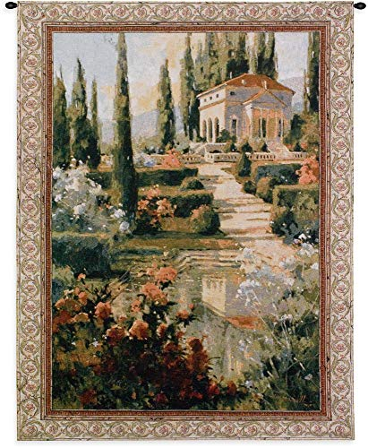 Tuscany Estate | Woven Tapestry Wall Art Hanging | Italian Villa Country Garden | 100% Cotton USA Size 53x42