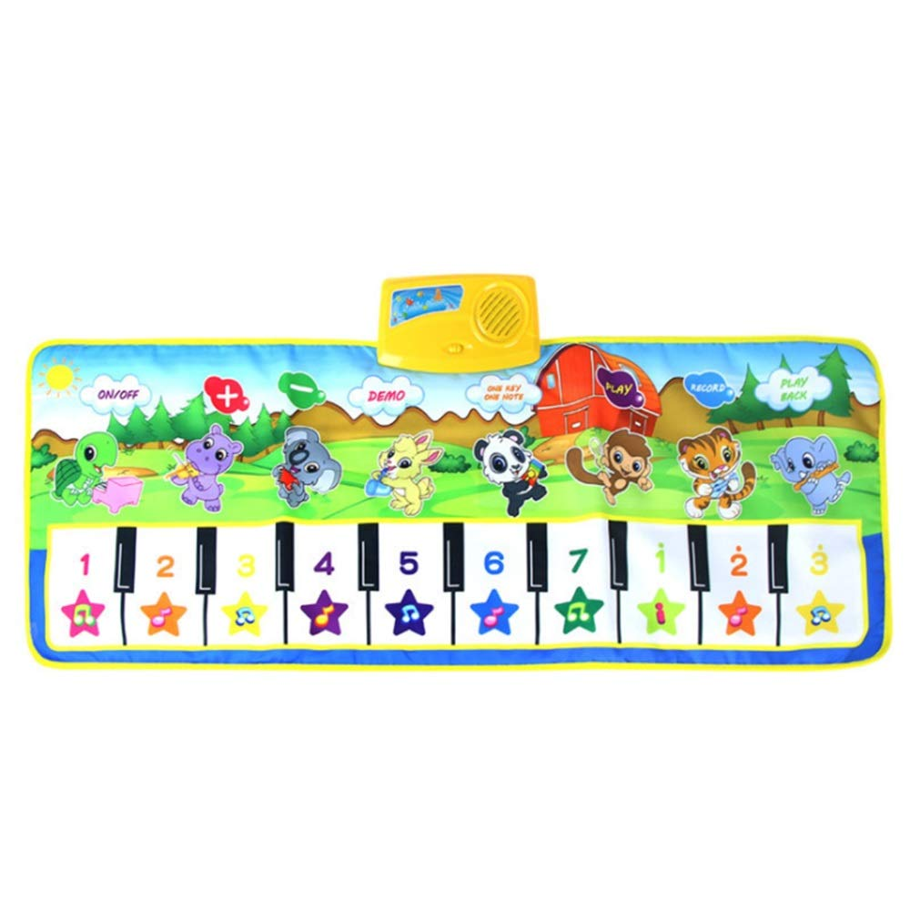 Music carpet Kids Animals Design 39 Inches 10 Keys Electronic Musical Keyboard Playmat Foldable Floor Keyboard Piano Dancing Activity Mat Step And Play Instrument Toys For Toddlers Children's Gift Pia