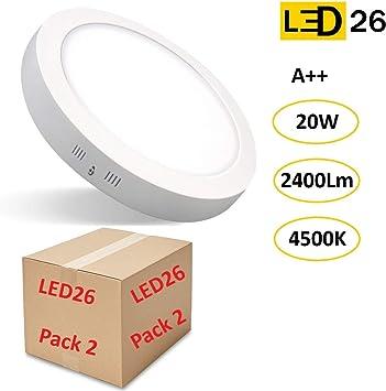 PACK 2 DOWNLIGHT PANEL SUPERFICIE LED CIRCULAR 20W plafon Redondo Para Techo y Pared LUZ BLANCA NEUTRA [Clase de eficiencia energética A++]: Amazon.es: Bricolaje y herramientas