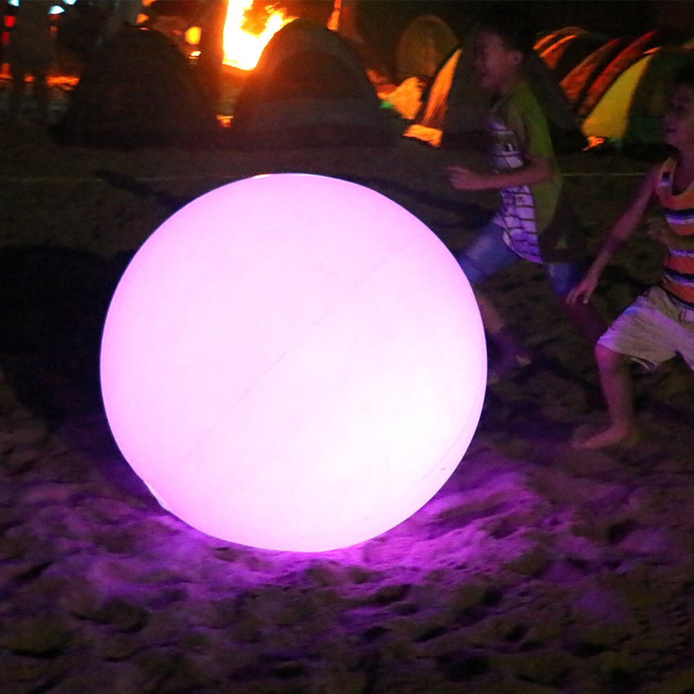 Sayok 19.7'' Inflatable Beach Ball PVC Lights Ball LED Balloon Glow in The Dark Toy with Color Changing Lights | 7 Modes | Great for Water Floating Lights/Party/Wedding/Event/Pool/Beach by Sayok