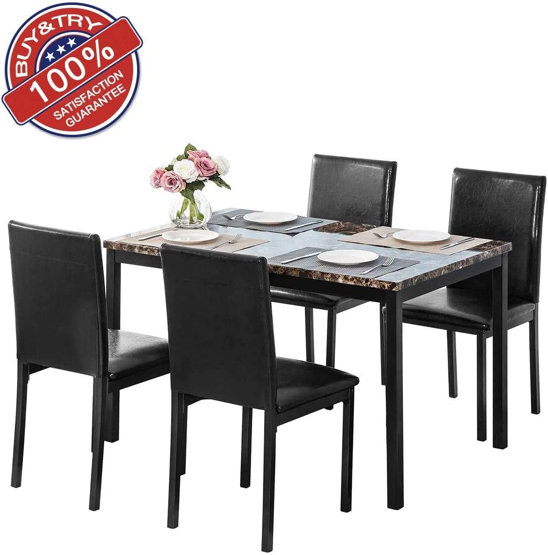 Amazon Com Dklgg 5 Piece Pu Faux Marble Top Counter Height Dining Table Set With 4 Leather Upholstered Chairs For Kitchen Breakfast Nook Dark Black Table Chair Sets