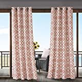 gazebo curtains 12x14 1 Piece Coral Fretwork Gazebo Curtain Panel 84 Inch, Pink Trellis Outdoor Curtain Light Filtering For Patio Porch, Water Resistant Indoor/outdoor Drapes For Sunroom Pergola Garden Grommet, Polyester