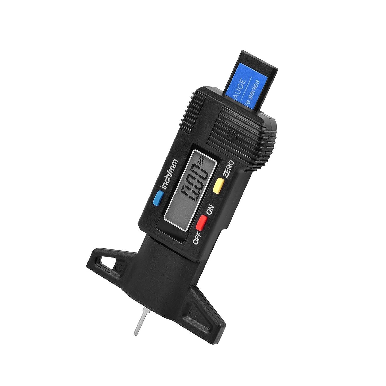 RayWax Digital Tyre Tread Depth Gauge(Range 0-25.4mm) with Large LCD Display Inch/MM Adjustable Tread Depth Measuring Tool for Motorbike, Cars, Vans, Trucks (Black)
