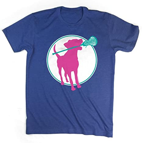 Lacrosse Dog with Girl Stick Adult T-Shirt