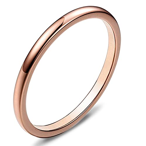 bdd85b31e770 SEXBAY 2mm Wedding Bands Tungsten Carbide Ring for Women Rose Gold Plated  Thin Engagement Promise Band