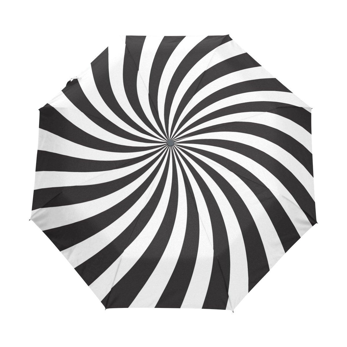 Naanle Black White Spiral Swirl Auto Open Close Foldable Windproof Travel Umbrella B077QGTLGJ