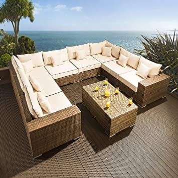 Rattan ecksofa garten  Amazon.de: Luxus Outdoor Garten U FORM Sofa Gruppe 9 Braun Rattan ...