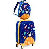 "GYMAX 2Pc Kid Carry On Luggage Set, 12"" & 18"" Kids Suitcase with 4 Spinner Wheels, Travel Rolling Trolley for Boys and…"