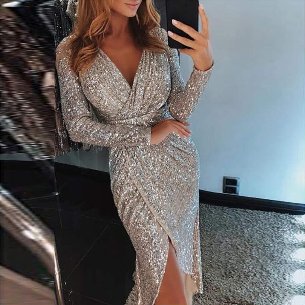 2ffab634d5 ... HULKAY Women Dresses Sexty Sequins V Neck Long Sleeves Bodycon Evening  Party Dress Boho ...