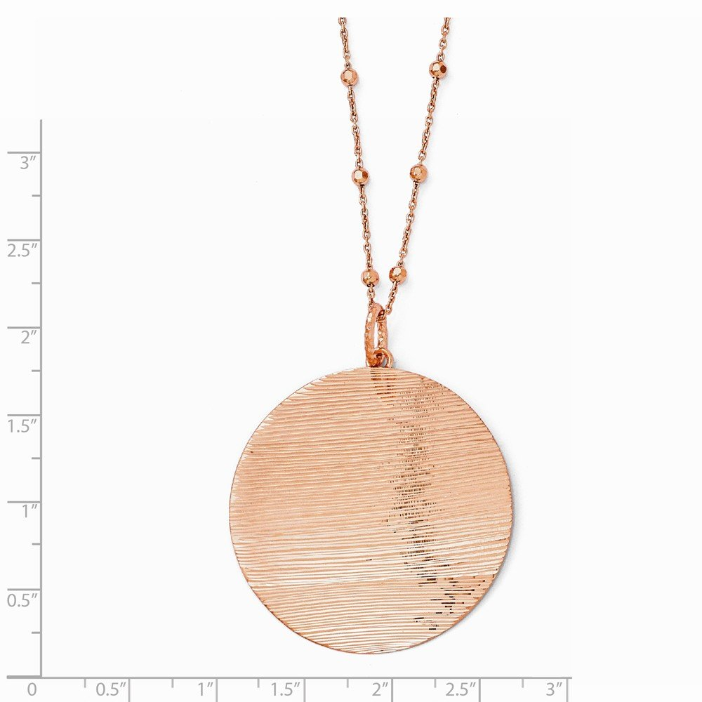 Sterling Silver 24K Flash Plated Rose Disc Pendant Necklace 2 Inch Ext 41x41mm 17 Inches