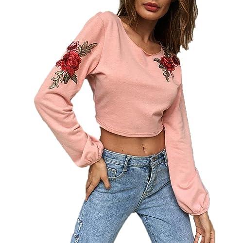 DOLDOA Las mujeres de moda Casual Bowknot fugas Back Bandage Blusas Tops bordado Hoodie
