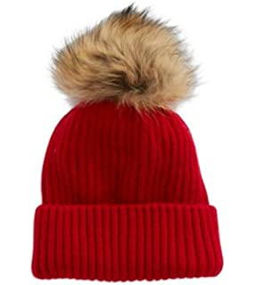 d133f62444f18 Linda Richards Luxury Ribbed Knit Genuine Fur Pom Pom Hat - Black ...