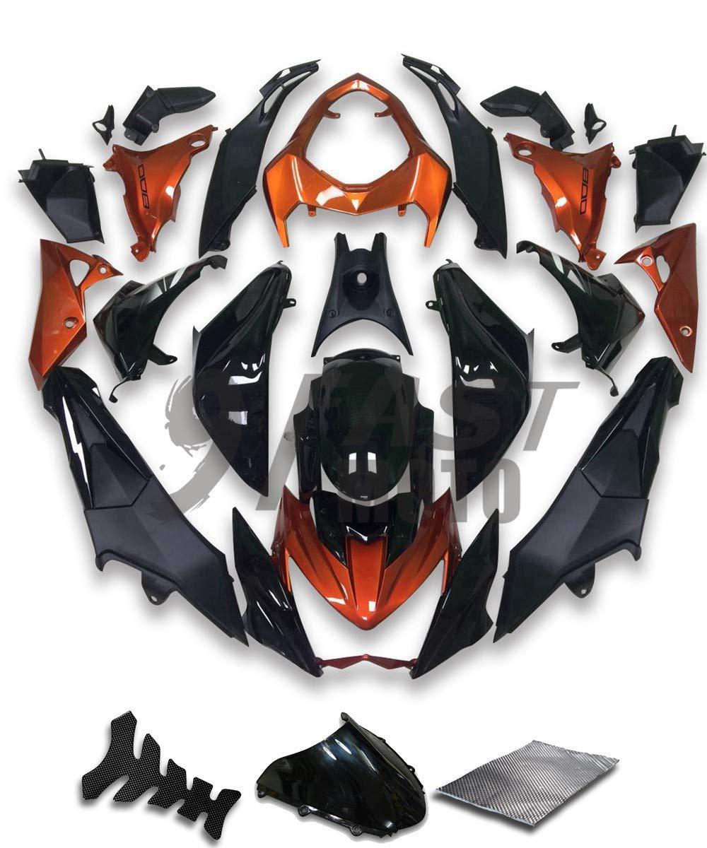 9FastMotokawasaki カワサキ Z800 2013 2014 2015 2016 用フェアリング オートバイフェアリングキット ABS 射出成形セット スポーツバイク カウル パネル (ブラック & オレンジ) K0795   B07RN6VM5Z