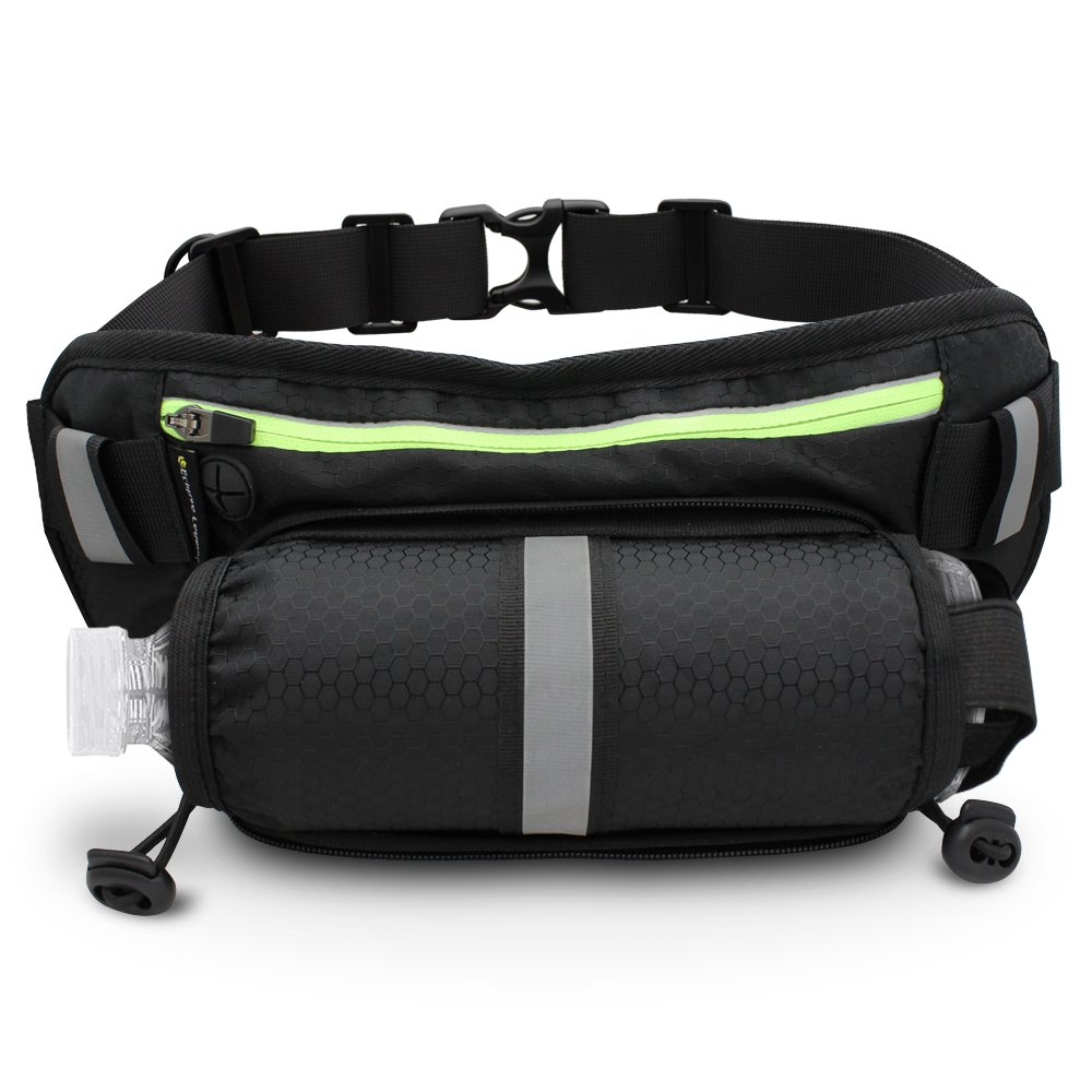 Slim Profile Waist Pack with Water Bottle Holder [ActivePak Hydro] Water Resistant, Storage for Smartphone & More with FREE attachable dog leash – For Travel, Runners, Hikers, Men & Women - Black by LE Eclipse Legend