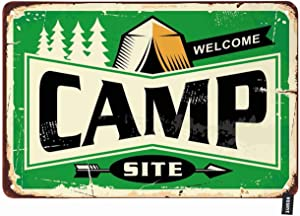 HOSNYE Camp Tin Sign Arrow Tree Botanical Adventure Campsite Outdoor Forest Picnic Nature Retro Vintage Metal Tin Signs for Men Women Wall Art Decor for Home Bars Clubs Cafes 8x12 Inch