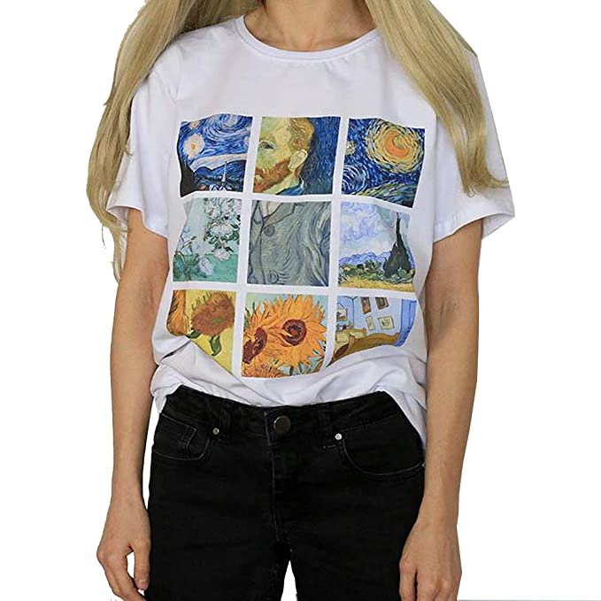 71ea8867 Amazon.com: Fashion Unisex Van Gogh Oil Painting Print T Shirt O Neck Short  Sleeve Casual Top Blouse for Women Men: Clothing