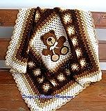 Adorable Hand Crochet Teddy Bear blanket, afghan, throw