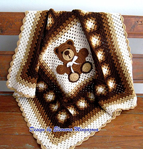 Adorable Hand Crochet Teddy Bear blanket, afghan, throw by Crafty Barn