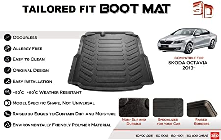 Nomad Auto Tailored Fit Durable Black Boot Liner Tray Mat Protector for Skoda Octavia Hatchback 2013 on