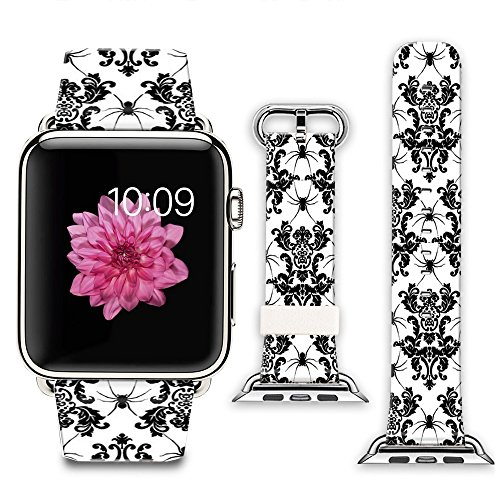 iWatch Leather Band 42mm, Band with Adapter for Apple Watch Strap 42mm - Black spider and Flowers