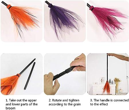 BovoYa Witch Broom Halloween Plastic Broom Escoba para niños para Fiesta de Disfraces Decoración de Halloween, 3 Colores