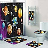 VROSELV 5-piece Bathroom Set-Includes Shower Curtain Liner,Solar System of Planets Milk Way Neptune Venus Mercury Sphere Print Bathroom Rugs Shower Curtain/Bath Towls Sets(Large size)