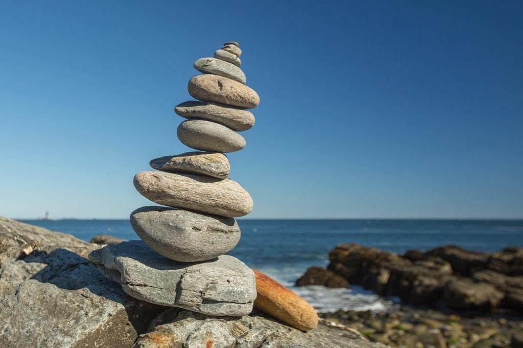 Cairn on The Shore Portland Maine Photo Photograph Cool Wall Decor Art Print Poster 36x24