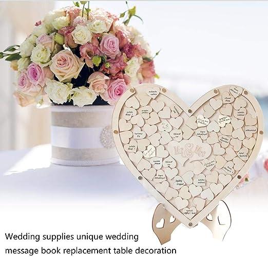 Earthily -HOME Corazones de madera Libro de visitas de boda, Cuadro alternativo Caja de caída Montable en la pared Corazón de amor de madera Mesa de boda Dispersión Decoración Manualidades comfortable: Amazon.es:
