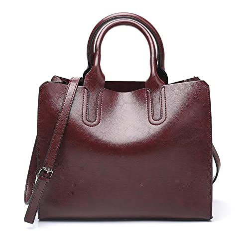 4bbde00d2fcf Amazon.com  WAXED PU LEATHER STRUCTURED TOTE BAG - Women Minimal Simple  Plain Design Top Handle Shoulder Formal Business Work Large Handbag Color  Chocolate  ...