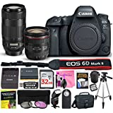 Canon EOS 6D Mark II Digital SLR Camera (Wi-Fi) ESSENTIAL Multi-Lens STARTER Kit with Camera Body, EF 24-70mm f/4L IS USM Lens, EF 70-300mm f/4-5.6 IS II USM Lens & Camera Works Accessory Bundle