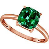 3.25 Ct AFFY Cushion-Cut Simulated Green Emerald Solitaire Ring in 14K Gold Over Sterling Silver