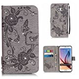 BoxTii Samsung Galaxy S6 Edge Plus Case + Free Tempered Glass Screen Protector, Diamond Leather Case, Book Style Flip Wallet Cover with Card Slots for Samsung Galaxy S6 Edge Plus (#6 Gray)